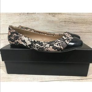 Ann Taylor Black Nude Lace Ballet Flat Shoes 7.5